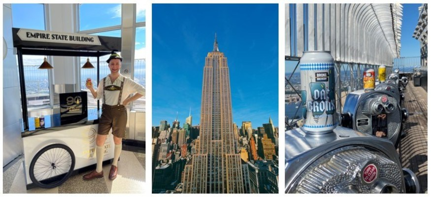 The Empire State Building's 90th Anniversary Cart (L); The Empire State Building (M); Bronx Brewery's select beers on the 86th Floor Observatory (R)